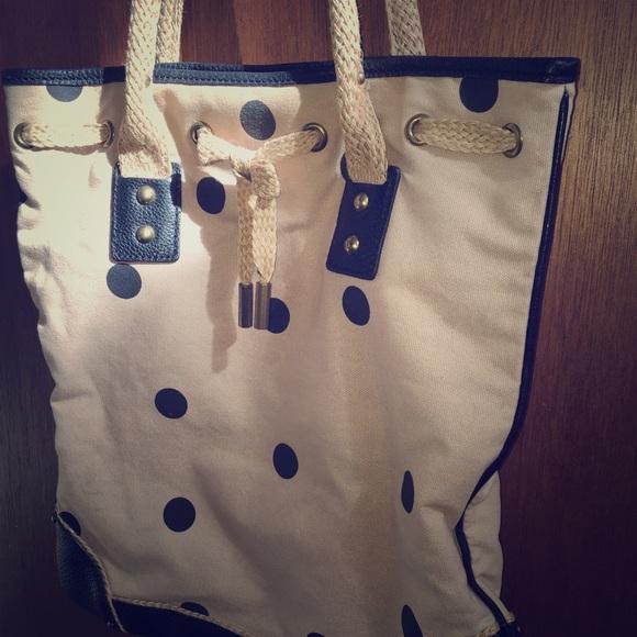 J. Crew Handbags - J Crew canvas polka tote